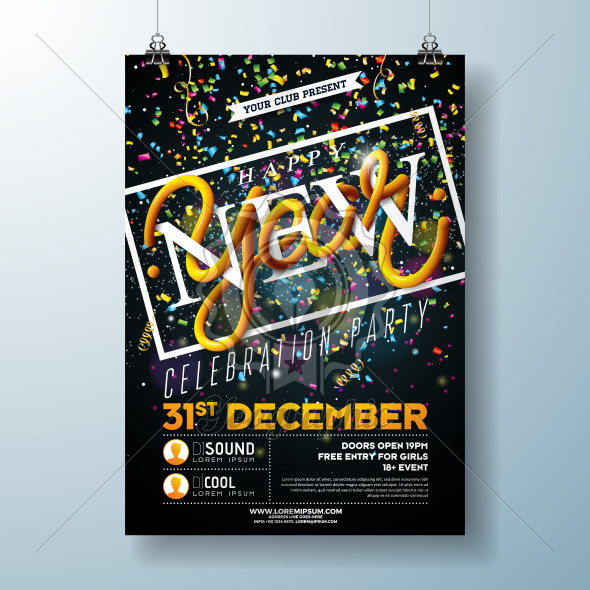 Happy New Year Party Celebration Flyer Template Illustration with Typography Design and Falling Confetti on Black Background. Vector Holiday Premium Invitation Poster or Promo Banner. - Royalty Free Vector Illustration