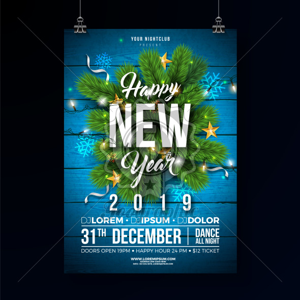 New Year 2019 Party Celebration Poster Template Illustration with Pine Branch and Lights garland on Wood Texture Background. Vector Holiday Premium Invitation Flyer or Promo Banner. - Royalty Free Vector Illustration