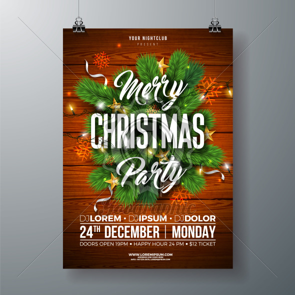 Christmas Party Flyer Illustration with Pine Branch, Gold Star and Typography Lettering on Wood Texture Background. Vector Celebration Poster Design Template for Invitation or Banner. - Royalty Free Vector Illustration