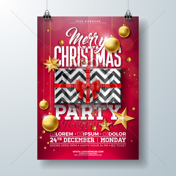 Christmas Party Flyer Illustration with Gift Box, Gold Star, Glass Ball and Typography Lettering on Red Background. Vector Celebration Poster Design Template for Invitation or Banner. - Royalty Free Vector Illustration