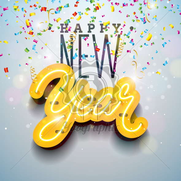 2019 happy new year illustration with bright neon light lettering and falling confetti on white background