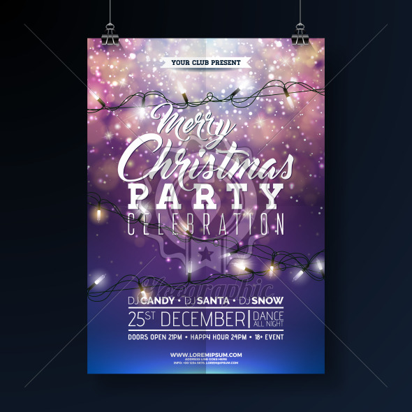 Christmas Party Flyer Illustration with Lights Garland and Typography Lettering on Shiny Blue Background. Vector Holiday Celebration Poster Design Template for Invitation or Banner. - Royalty Free Vector Illustration