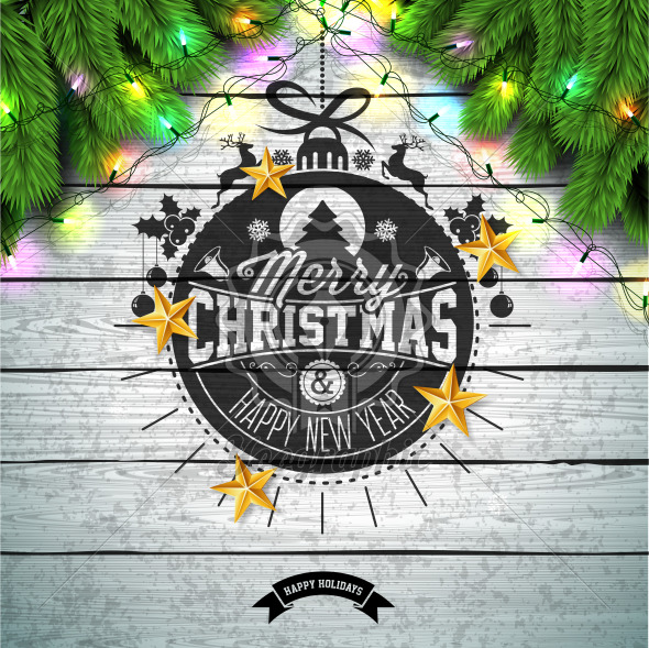 Merry Christmas Illustration with Gold Glass Ball, Pine Branch and Typography Elements on Vintage Wood Background. Vector Holiday Design for Greeting Card, Party Invitation or Promo Banner. - Royalty Free Vector Illustration