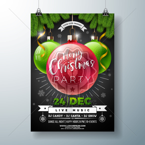 Christmas Party Flyer Illustration with Shiny Glass Ball and Pine Branch on Black Background. Vector Holiday Celebration Poster Design Template for Invitation or Banner. - Royalty Free Vector Illustration