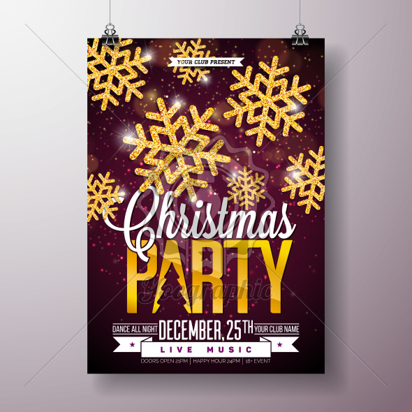 Christmas Party Flyer Illustration with Shiny Gold Snowflakes and Typography Lettering on Dark Background. Vector Holiday Celebration Poster Design Template for Invitation or Banner. - Royalty Free Vector Illustration