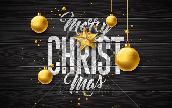 Merry Christmas Illustration with Gold Glass Ball, Star and Typography Elements on Vintage Wood Background. Vector Holiday Design for Greeting Card, Party Invitation or Promo Banner. - Royalty Free Vector Illustration