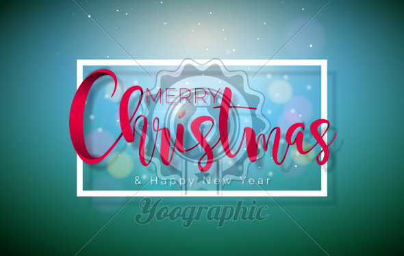 Merry Christmas Illustration with Typography Elements on Shiny Green Background. Vector Holiday Design for Greeting Card, Party Invitation or Promo Banner. - Royalty Free Vector Illustration