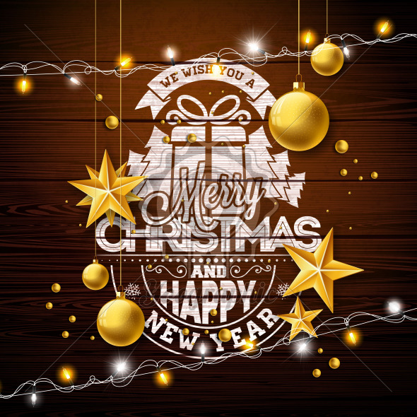 Merry Christmas Illustration with Gold Glass Ball, Lights Garland and Typography Elements on Vintage Wood Background. Vector Holiday Design for Greeting Card, Party Invitation or Promo Banner. - Royalty Free Vector Illustration