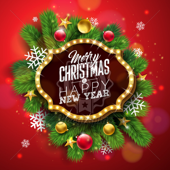 Merry Christmas and Happy New Year Illustration with Light Sign Board and Pine Branch on Red Background. Vector Holiday Design for Greeting Card, Party Invitation or Promo Banner. - Royalty Free Vector Illustration
