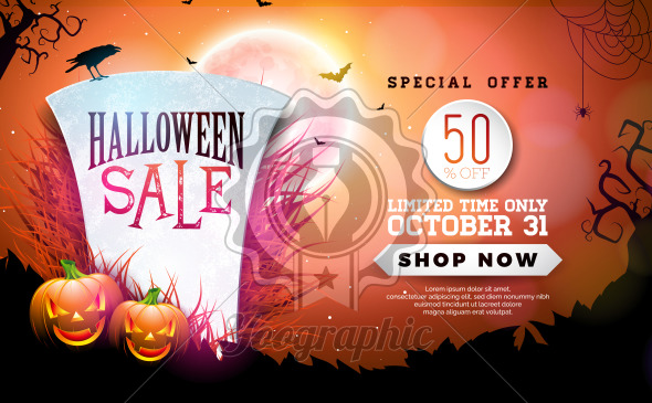 halloween sale banner illustration with tombstone pumpkins moon