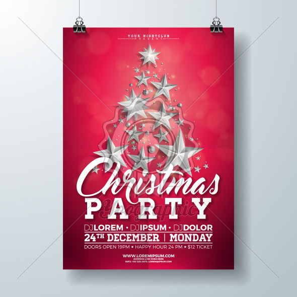 Christmas Party Flyer Illustration with Silver Stars and Typography Lettering on Red Background. Vector Holiday Celebration Poster Design Template for Invitation or Banner. - Royalty Free Vector Illustration