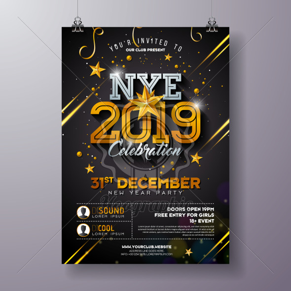 2019 New Year Party Celebration Poster Template Illustration with Shiny Gold Number on Black Background. Vector Holiday Premium Invitation Flyer or Promo Banner. - Royalty Free Vector Illustration