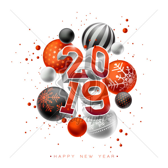 2019 Happy New Year Illustration With 3d Typography Lettering And