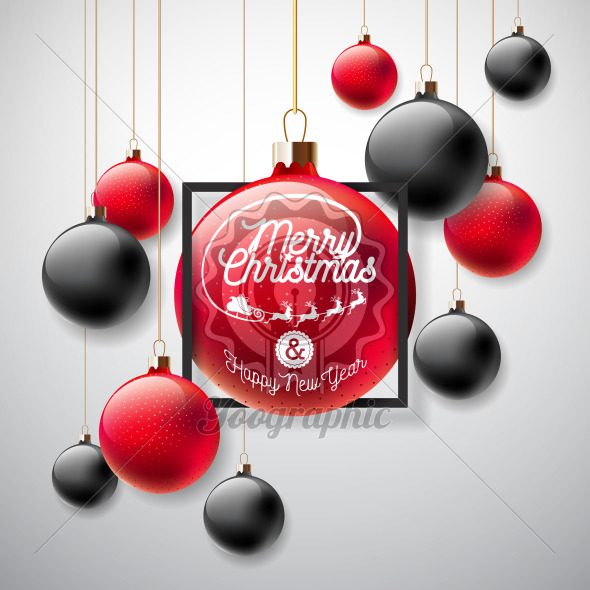 Merry Christmas Illustration with Red and Black Glass Ball and Typography Elements on White Background. Vector Holiday Design for Flyer, Greeting Card, Banner, Celebration Poster or Party Invitation. - Royalty Free Vector Illustration