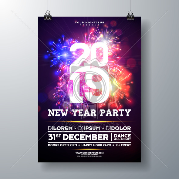 2019 New Year Party Celebration Poster Illustration with Typography Design and Firework on Shiny Colorful Background. Vector Holiday Premium Invitation Flyer Template or Promo Banner. - Royalty Free Vector Illustration