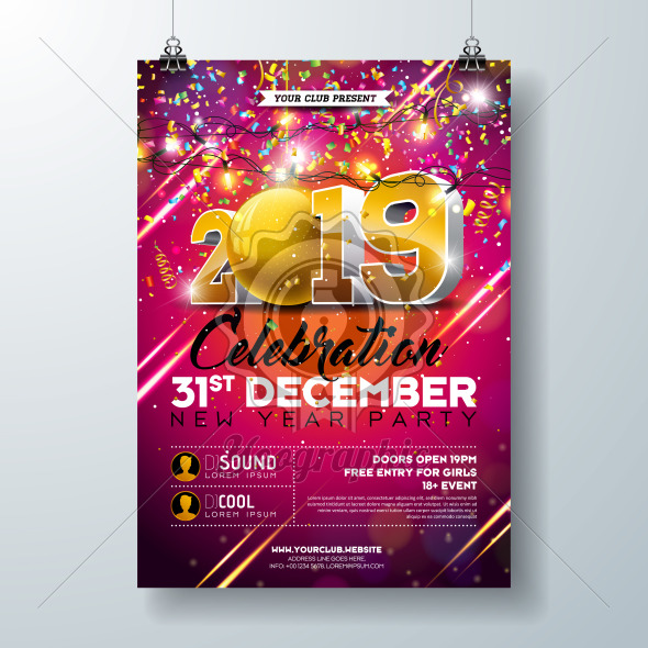 New Year Party Celebration Poster Template illustration with 3d 2019 Number and Falling Colorful Confetti on Red Background. Vector Holiday Premium Invitation Flyer or Promo Banner. - Royalty Free Vector Illustration