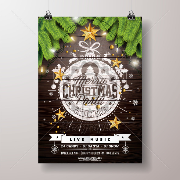 Christmas Party Flyer Illustration with Gold Star and Typography Lettering onVintage Wood Background. Vector Celebration Poster Design Template for Invitation or Banner. - Royalty Free Vector Illustration