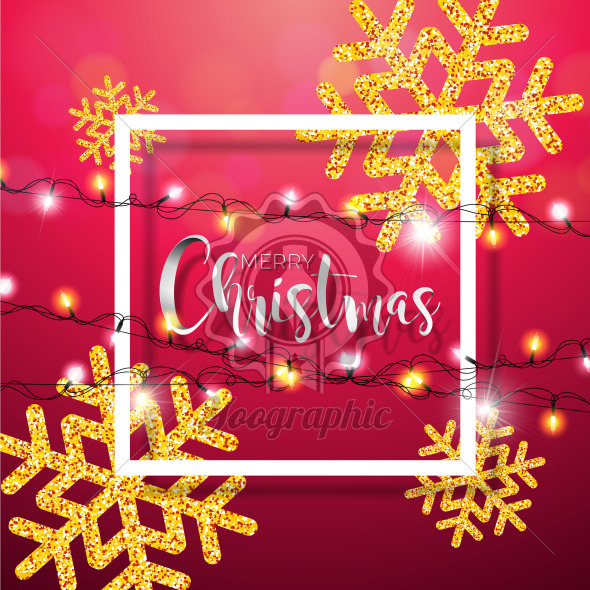 Merry Christmas Illustration with Shiny Gold Snowflakes, Lights Garland and Typography Elements on Red Background. Vector Holiday Design for Flyer, Greeting Card, Banner, Celebration Poster or Party Invitation. - Royalty Free Vector Illustration