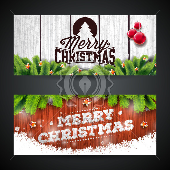 Merry Christmas Banner Design with Glass Ball, Star, Pine Branch and Typography Elements on Vintage Wood Texture Background. Vector Holiday Illustration for Greeting Card, Party Invitation or Promo Banner. - Royalty Free Vector Illustration