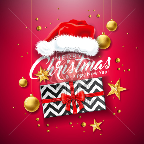Merry Christmas Illustration with Gift Box, Santa Hat, Gold Glass Ball, Star and Typography Elements on Red Background. Vector Holiday Design for Flyer, Greeting Card, Banner, Celebration Poster or Party Invitation. - Royalty Free Vector Illustration