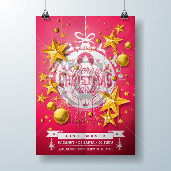 Merry Christmas Party Flyer Design with Holiday Typography Lettering, Star and Ornamental Balls on Black Background. Vector Celebration Poster Design Template for Invitation or Banner. - Royalty Free Vector Illustration
