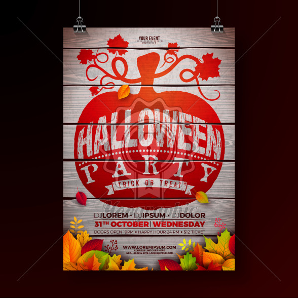 Halloween Party flyer illustration with autumn leaves and typography lettering in pumpkin on vintage wood background. Vector Holiday design template with for party invitation, greeting card, banner or celebration poster. - Royalty Free Vector Illustration