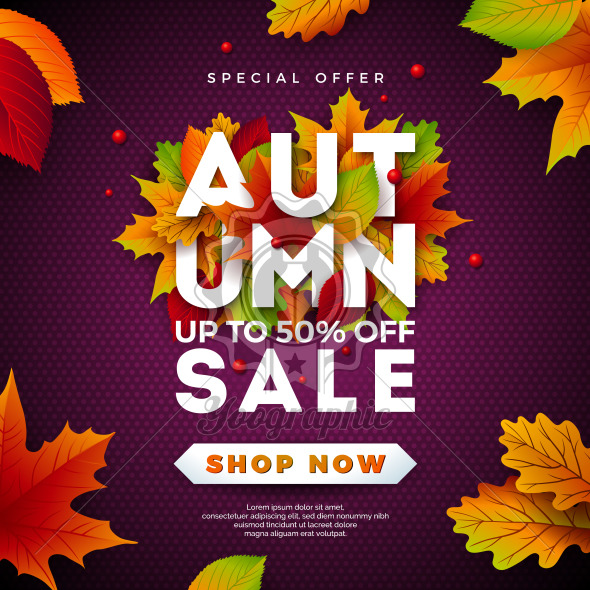 Autumn Sale Design with Falling Leaves and Lettering on Purple Background. Autumnal Vector Illustration with Special Offer Typography Elements for Coupon, Voucher, Banner, Flyer, Promotional Poster or Greeting Card. - Royalty Free Vector Illustration