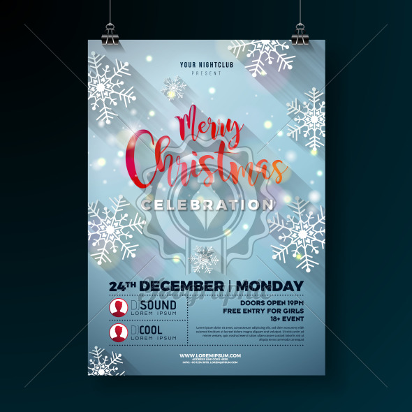 Christmas Party Flyer Illustration with Snowflakes and Typography Lettering on Lights Background. Vector Holiday Celebration Poster Design Template for Invitation or Banner. - Royalty Free Vector Illustration