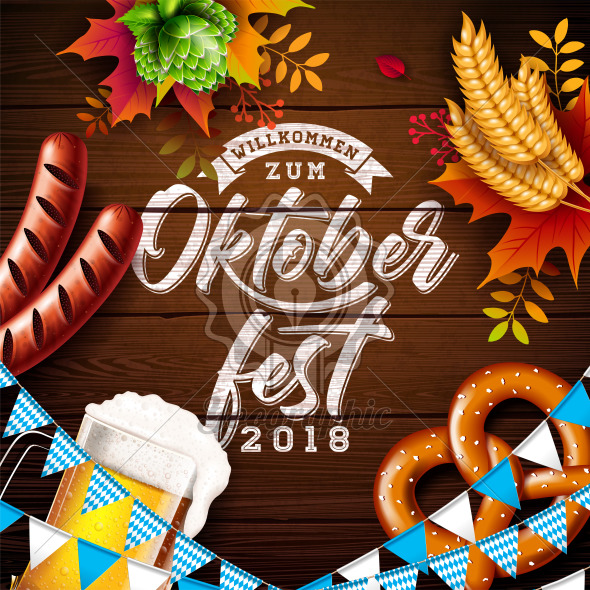 Oktoberfest Banner Illustration with Typography Lettering and Fresh Beer on Vintage Wood Background. Vector Traditional German Beer Festival Design with Wheat, Pretzel, Sausage, Hop and Autumn Leaves for Greeting Card, Invitation, Flyer or Poster. - Royalty Free Vector Illustration