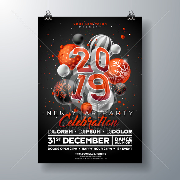 New Year Party Celebration Poster Template illustration with 3d 2019 Number and Christmas Ball on Black Background. Vector Holiday Premium Invitation Flyer or Promo Banner. - Royalty Free Vector Illustration