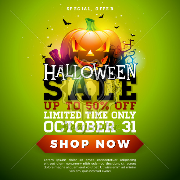 Halloween Sale banner illustration with pumpkin, cemetery and flying bats on green background. Vector Holiday design template with typography lettering for offer, coupon, celebration banner, voucher or promotional poster. - Royalty Free Vector Illustration