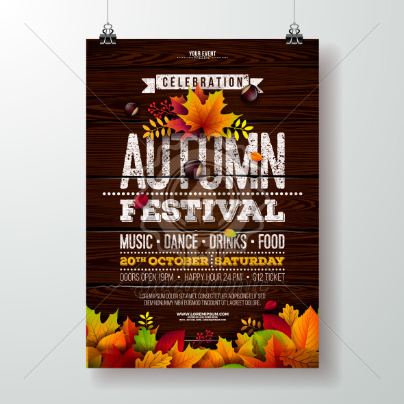 Autumn Party Flyer Illustration with falling leaves and typography design on vintage wood background. Vector Autumnal Fall Festival Design for Invitation or Holiday Celebration Poster. - Royalty Free Vector Illustration