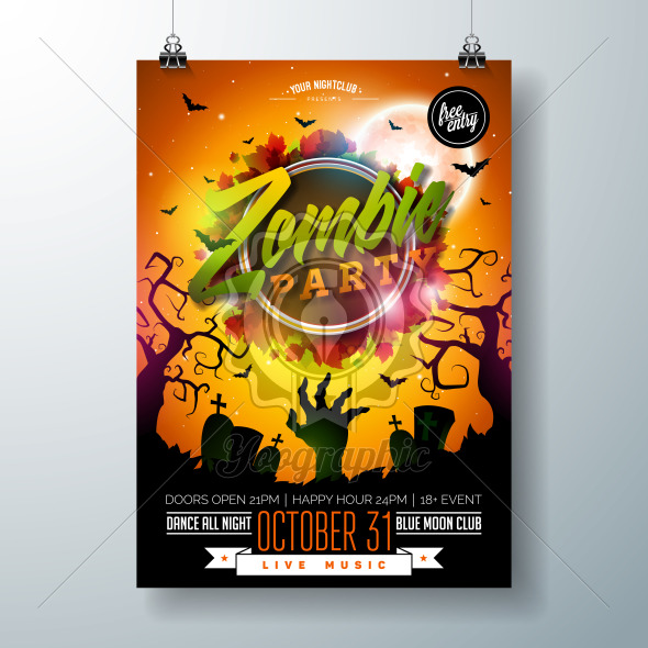 Halloween Zombie Party flyer illustration with cemetery and mysterious moon on orange background. Vector Holiday design template with tomstones and flying bats for party invitation, greeting card, banner or celebration poster. - Royalty Free Vector Illustration
