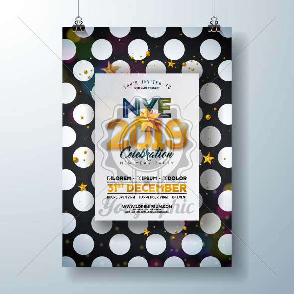 2018 New Year Party Celebration Poster Template Illustration with Shiny Gold Number on Abstract Black and White Background. Vector Holiday Premium Invitation Flyer or Promo Banner. - Royalty Free Vector Illustration