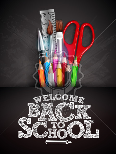 Back to school design with colorful pencil, pen and typography lettering on black chalkboard background. Vector illustration with ruler, scissors, paint brush for greeting card, banner, flyer, invitation, brochure or promotional poster. - Royalty Free Vector Illustration