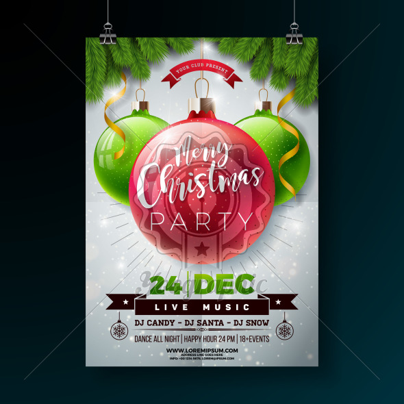 Christmas Party Flyer Illustration with Shiny Glass Ball and Pine Branch on White Background. Vector Holiday Celebration Poster Design Template for Invitation or Banner. - Royalty Free Vector Illustration