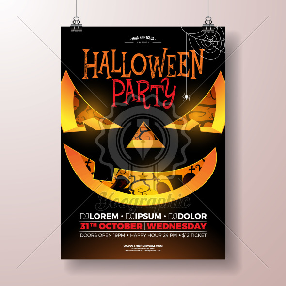 Halloween Party flyer vector illustration with scary face on black background. Holiday design template with cemetery for party invitation, greeting card, banner or celebration poster. - Royalty Free Vector Illustration