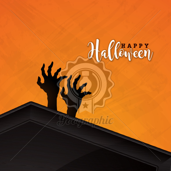 Happy Halloween banner illustration with coffin and zombie hand on orange background. Vector Holiday design template with typography lettering for greeting card, flyer, celebration poster or party invitation. - Royalty Free Vector Illustration