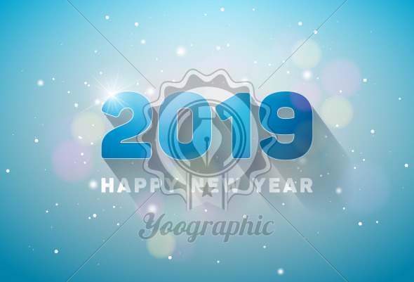 Happy New Year 2019 Illustration with 3d Number on Shiny Lighting Blue Background. Vector Holiday design for flyer, greeting card, banner, celebration poster, party invitation or calendar. - Royalty Free Vector Illustration