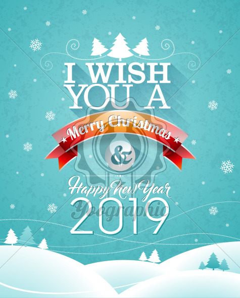 Merry Christmas illustration with typography and ornament decoration on winter landscape background. Vector Holiday Design for Greeting Card, Party Invitation or Promo Banner. - Royalty Free Vector Illustration