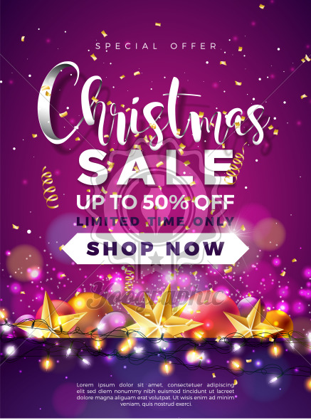 Christmas Sale Design with Ornamental Ball and Lights Garland on Violet Background. Holiday Vector Illustration with Special Offer Typography Elements for Coupon, Voucher, Banner, Flyer, Promotional Poster or Greeting Card. - Royalty Free Vector Illustration